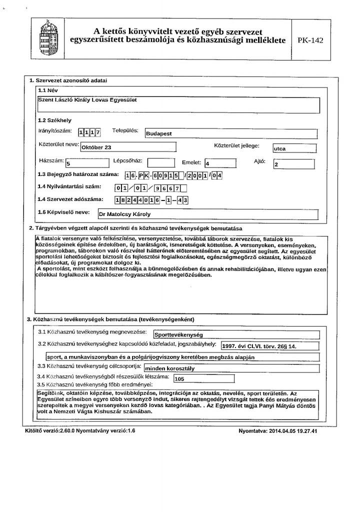 Közhasznúsági jelentés 6. oldal